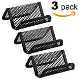 Hamosky Metal Mesh Business Card Holder for Desk Office Business Card Holders Mesh Collection Organizer for Name Card, Capacity 50 Cards, Black Mesh Business Card Display, 3 Pack