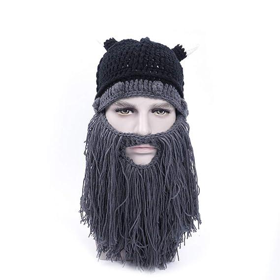 Hilai Invierno sombrero barba tejer pelo de lana gorro sombrero tejer sombrero de invierno sombrero caliente
