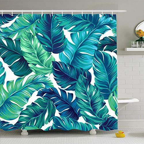 (Ahawoso Shower Curtain 60x72 Inches Leaf Teal Palm Turquoise Green Tropical Leaves Graphic Pattern Abstract Blue Banana Botanic Summer Waterproof Polyester Fabric Set with Hooks)