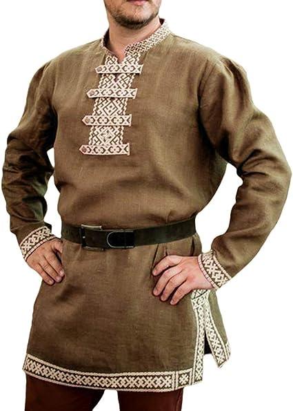 Hombres Medieval Túnica - Renacimiento Victoria Camisa Vintage Manga Larga Blusas Estampada Suelto Tops para Halloween Cosplay Fiesta Carnaval: Amazon.es: Ropa y accesorios