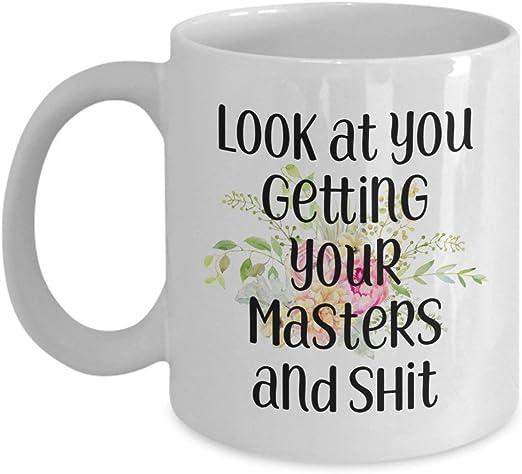 Masters Degree Mug Graduation Gifts Mba Graduate Msc Grad Coffee Mug Gift Idea For Him Her Man Woman Funny Present Student Graduating Amazon Co Uk Kitchen Home