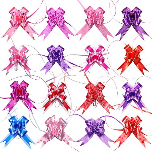 Floral Ships Bow Large (M-Aimee 160Pcs Gift Wrapping Pull Bows for Christmas Gift Knot Ribbon Strings Or Floral Decoration, 16 Color, 3*48cm)