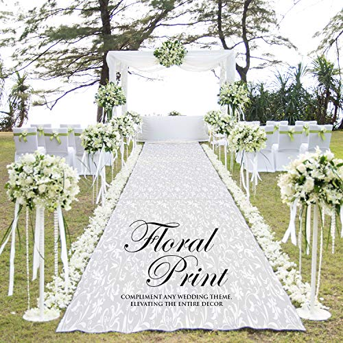 Excellent Designs White Wedding Aisle Runner – 100% Polyester – Charming Floral Print – Ideal for Indoor & Outdoor – 100 Foot Long Roll with Pull Cord & Adhesive Tape – 50GSM Thick & Durable ()