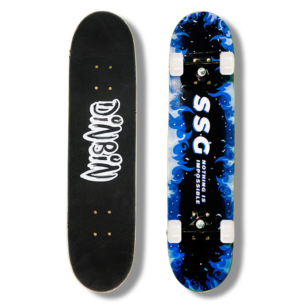 DINBIN Skateboard – 31 x 8 Complete Pro Skateboard – Double Kick Skateboards for Adults 7 Layer Canadian Maple Wood Tricks Skateboard