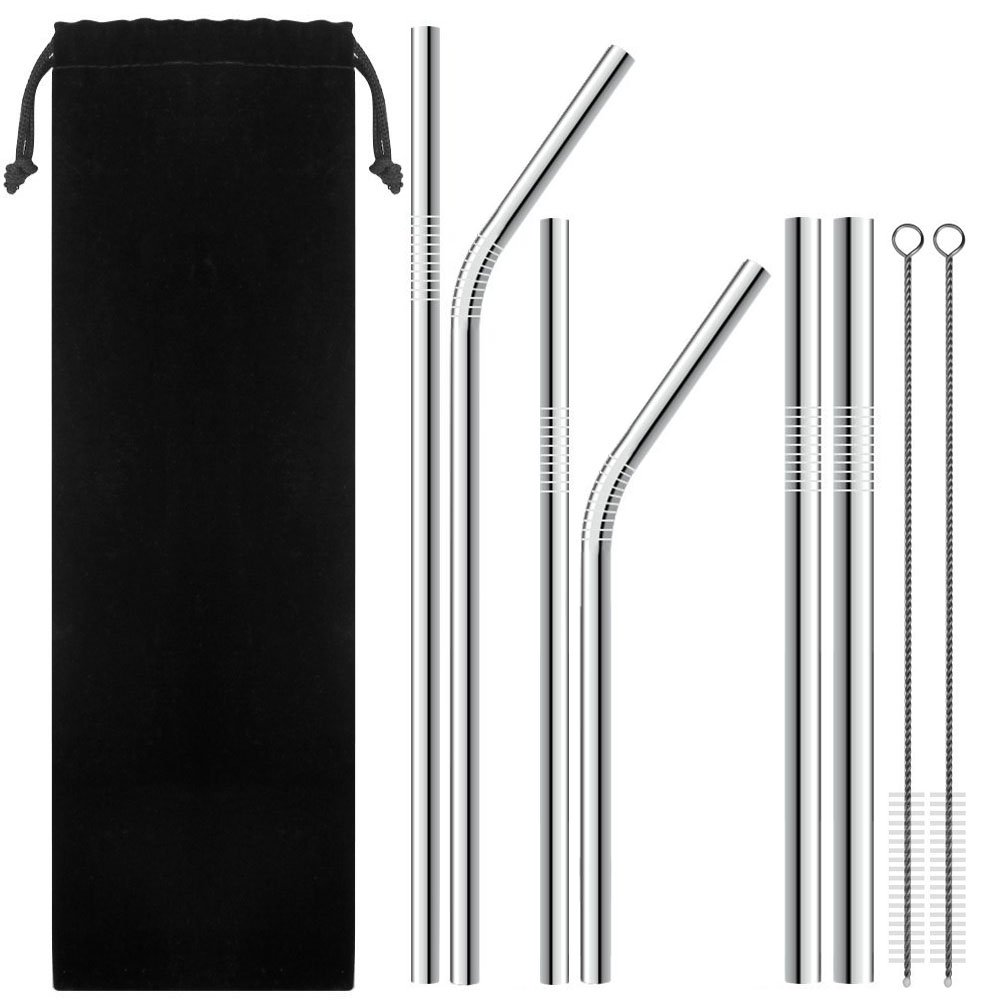 6 Stainless Steel Straws with 2 Cleaning Brushes, Variety of Widths Reusable Metal Drinking Straws for 20oz 30oz Stainless Tumbler Yeti Rambler Rtic Ozark Trail Complete (Pack 6)