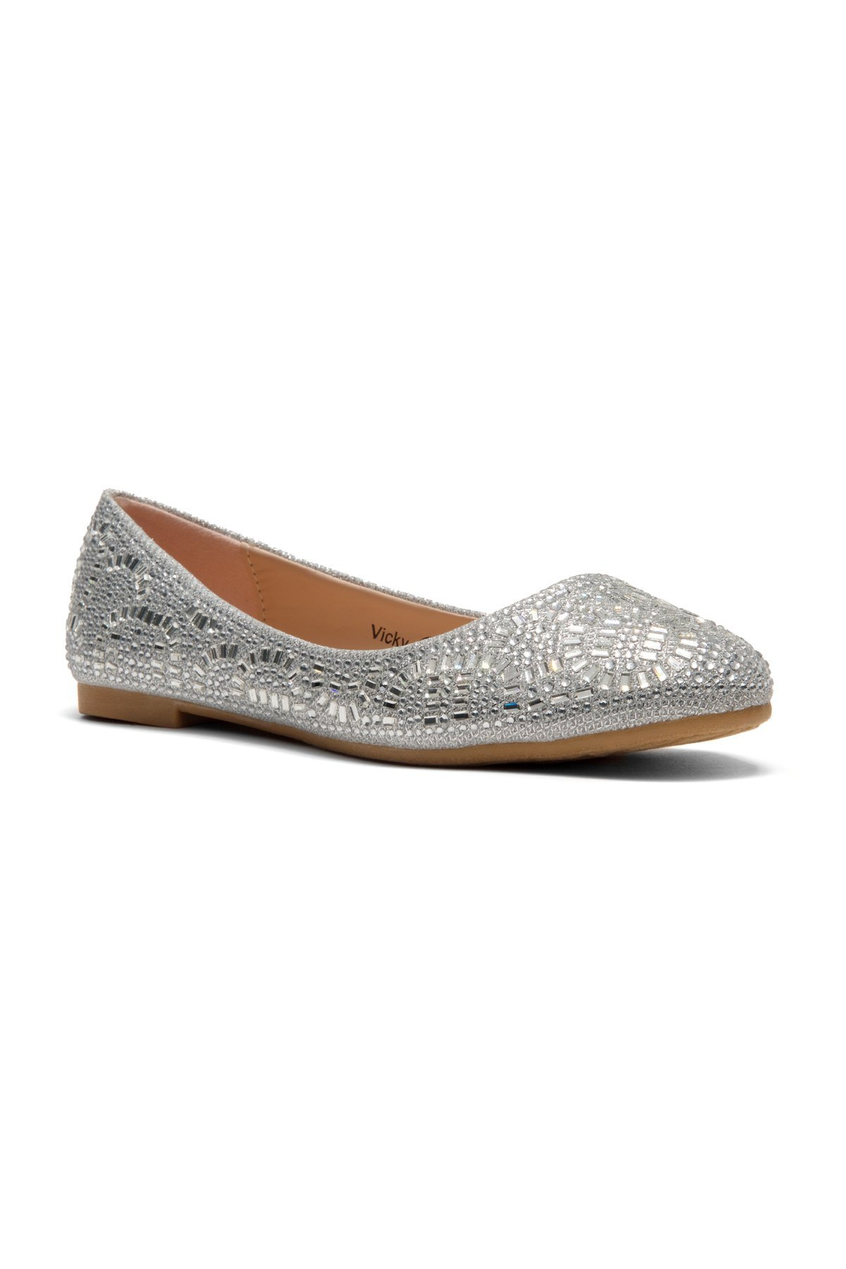Herstyle Women's Vicky Round Toe Jeweled Embellishments Silver 6.5