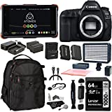 Cheap Canon EOS 5D Mark IV DSLR Camera Body, Atomos Ninja Flame with Power Pack, Lexar 64GB, Spare Battery, LED Light, Camera Backpack, Card Reader and Accessory Bundle