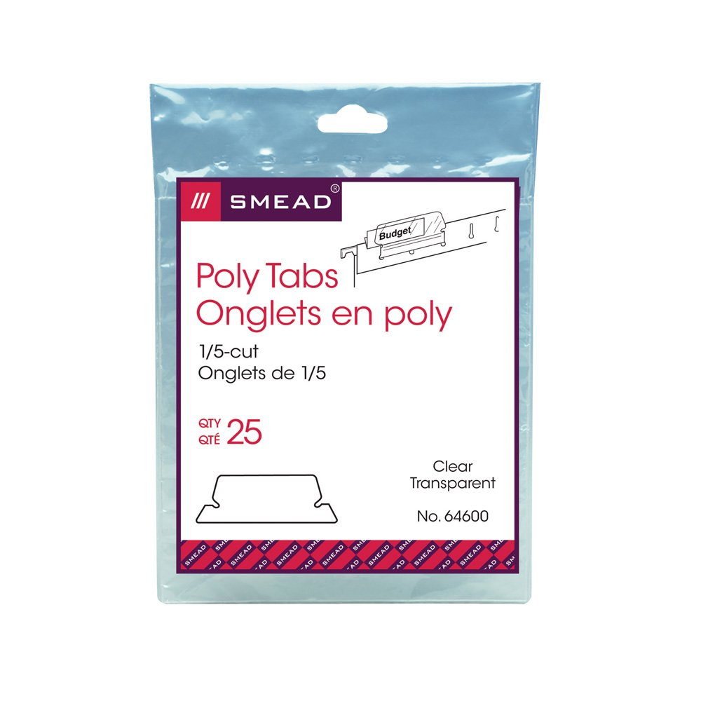 Smead Hanging Folder Poly Tab 1/5 Cut Tab, Clear, 25 Per Pack (64600)
