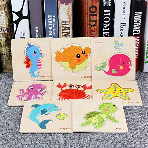 (3D Puzzle Wood - 8Pcs Cartoon Wooden Animal and Transportation 3D Puzzle Jigsaw Wooden Toys for Intelligence Kids Baby Early Educational Toy HY, A200)