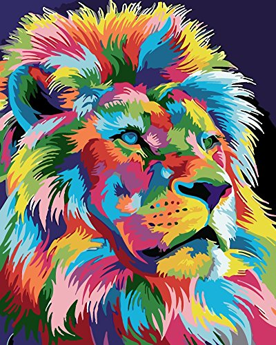 YEESAM ART New DIY Paint by Number Kits for Adults Kids Beginner - Lion King Colorful Animals 16x20 inch Linen Canvas ()