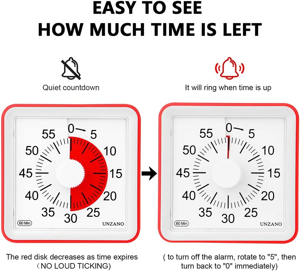 Classroom Silent Countdown Timer for Kids and Adults Growfast 60 Minute Kids Visual Timer Homework Time Management Tool for Kitchen Meeting