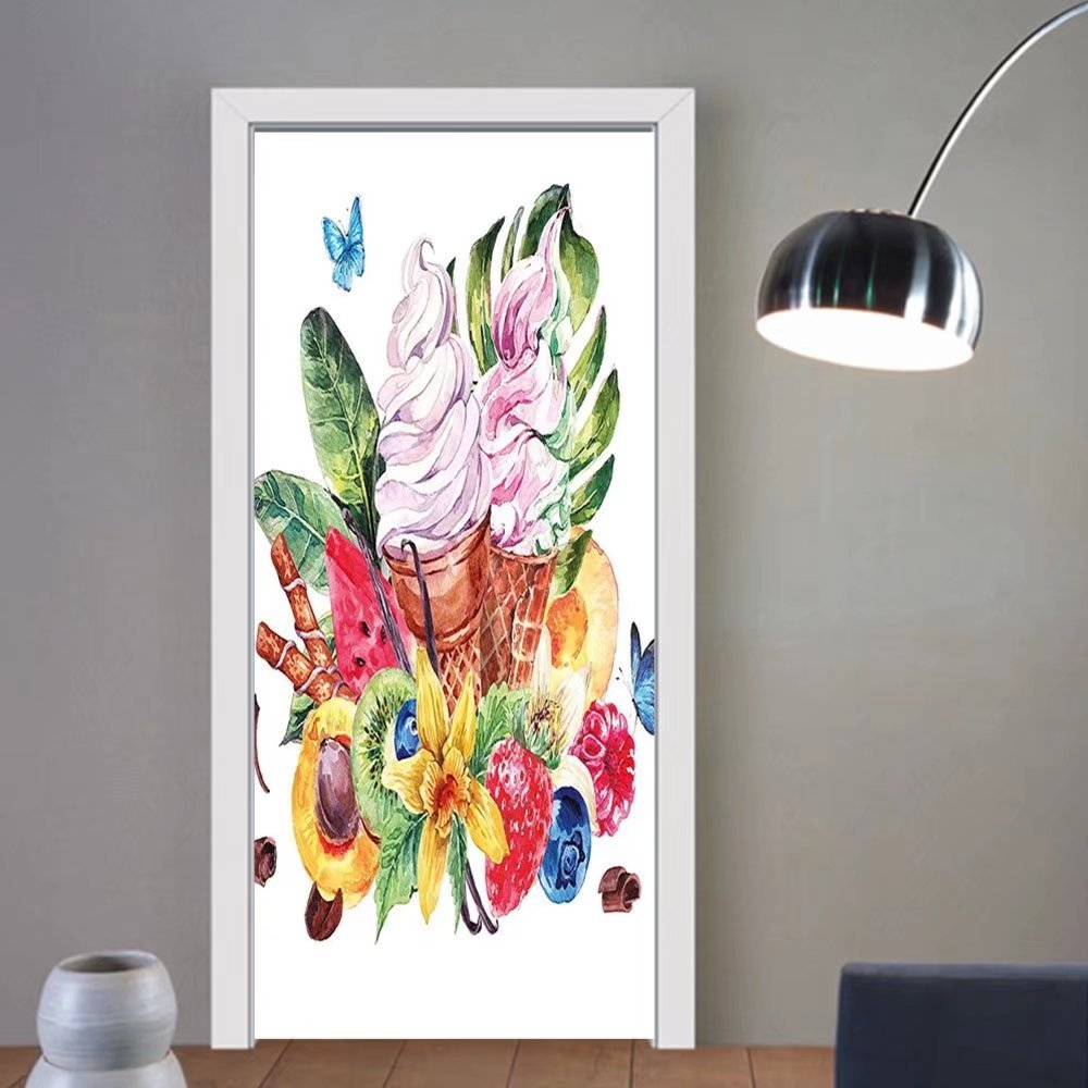 Gzhihine custom made 3d door stickers Tropical Watercolor Style Effect Food Theme Fruits Ice Cream Leaves and Butterflies Print Multicolored For Room Decor 30x79