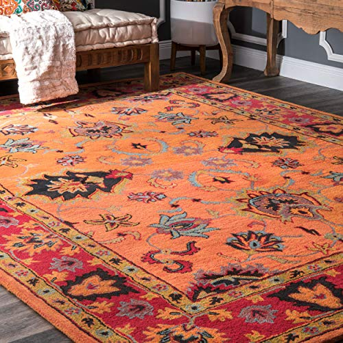 (nuLOOM SPRE21A Hand Tufted Montesque Wool Rug, 4' x 6', Orange)