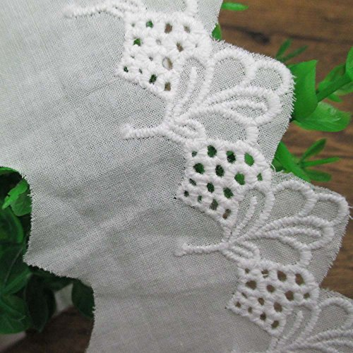 Scalloped Patterned Embroidered Eyelet Cotton Lace Trims Dress Skirt Edge Home Decor Supply 2 Inches Wide (15 yards)
