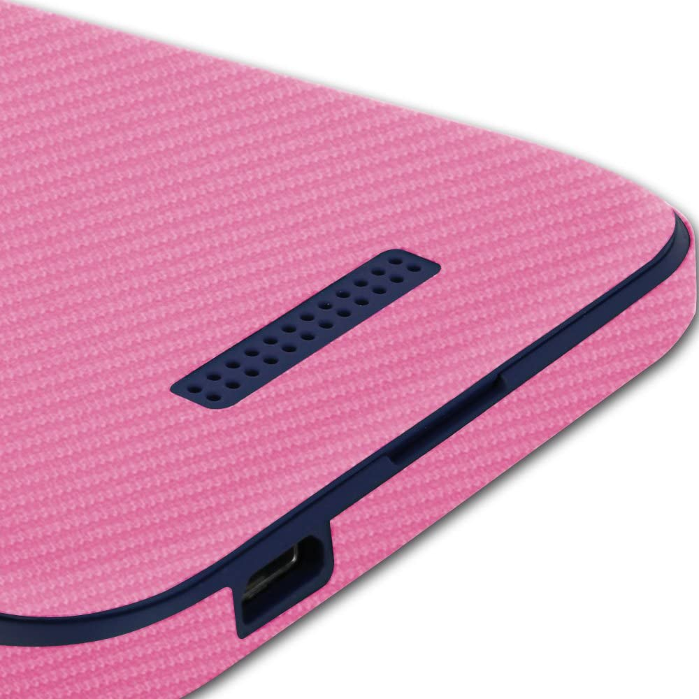 TechSkin with Anti-Bubble Clear Film Screen Protector Skinomi Pink Carbon Fiber Full Body Skin Compatible with HTC Desire 510 Full Coverage