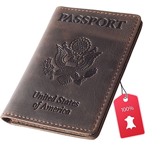 Leather Passport Holder - Cover - Travel Wallet Case Leather Passport Cover Accessories - Dark Brown
