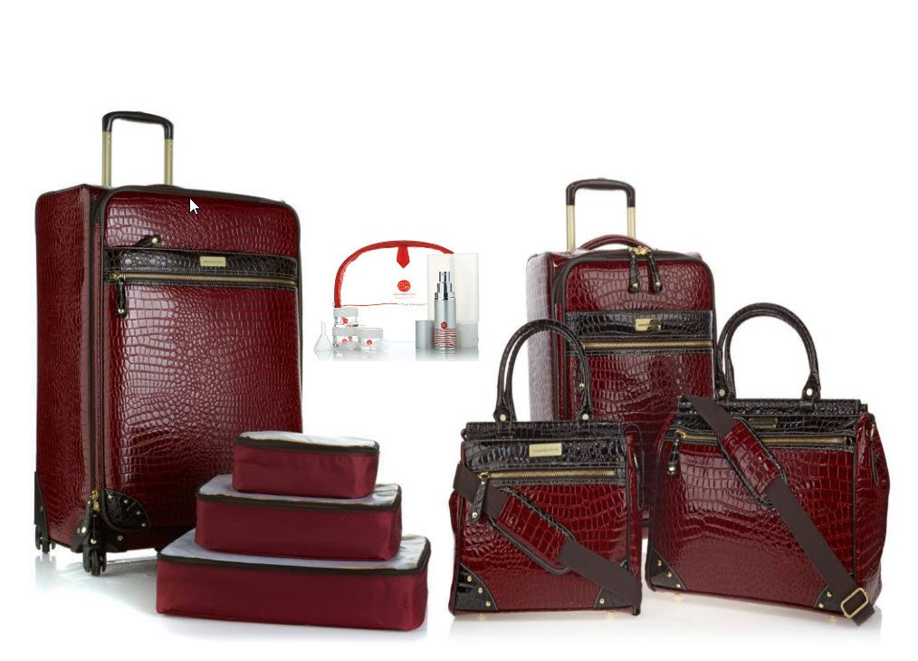 Samantha Brown Burgundy 8 piece Luggage Set 25'', 21'' Spinner, Dowel Bags, Cubes