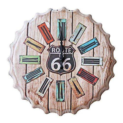 NEW DECO Metal Signs Vintage Route US Road 66 W Clock Beer Bottle Cap Vintage Retro Metal Tin Sign Wall Decor Art Dia (Route 66 Metal Clock)