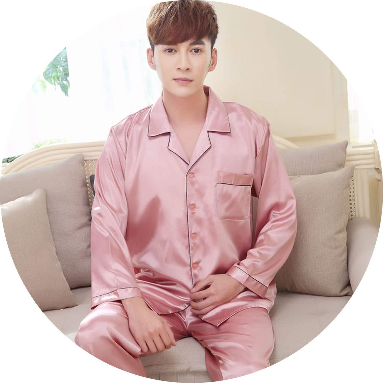 color16 JIESENGTOO 2019 New Luxurious Silk Satin Couple Pajamas Set Long Sleeve Trousers Sleepwear Women Mens Silk