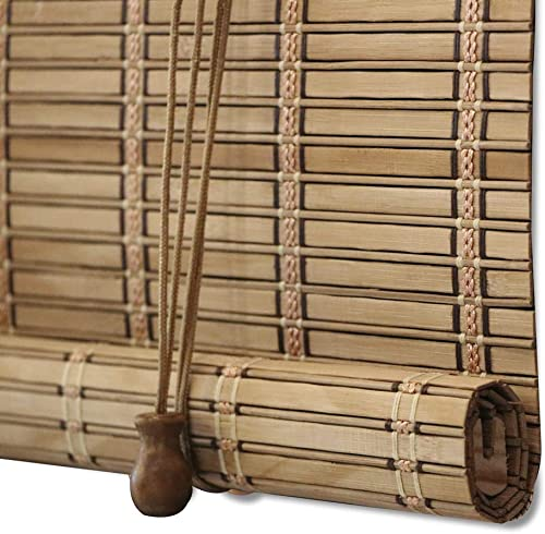 ZY Blinds Bamboo Window Blinds, Light Filtering Roll Up Blinds with Valance, 38 W x 84 L, Pattern 5