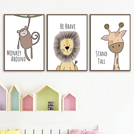 SCLPOSTER Cartel Moda Arte Pintura Jirafa león cocodrilo ...