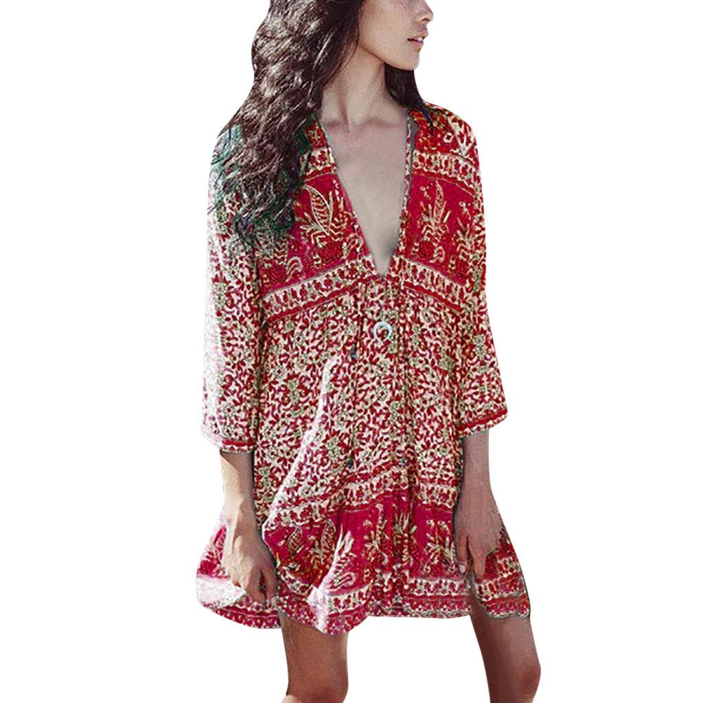 2019 Fashion Women Boho V Neck Sexy Summer Dress Casual Loose Lady Bohemia Floral Printed Beach Dresses (Red, M)