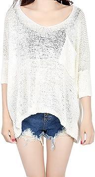 Butterme - Camisa para mujer, manga larga, bordada con encaje, ganchillo, para mujer, informal, extragrande blanco Blanco talla única: Amazon.es: Electrónica
