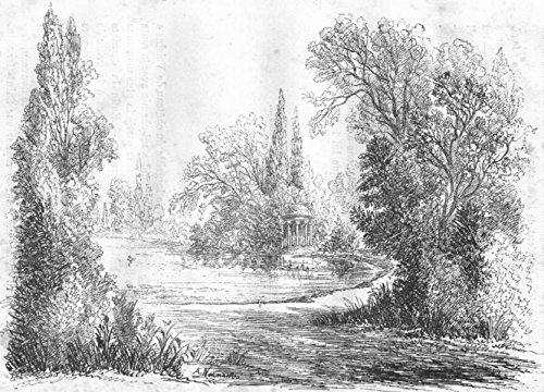 (YVELINES. Pare du pavilion Dubarry - 1880 - old print - antique print - vintage print - Yvelines art prints)