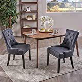 Cheap Sarah Traditional Microfiber Dining Chairs (Set of 2), Navy Blue