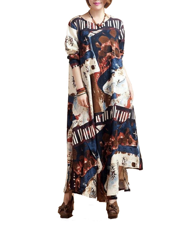Frauen reizvolle plus Größen-lange Hülsen-loses Flax Nationale Wind-Druck Big Swing Langes Kleid