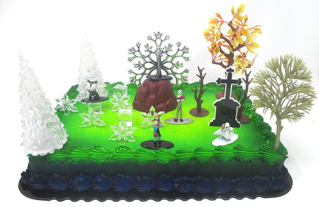 Jack Skellington and Friends Nightmare Before Christmas Themed Birthday Cake Topper with Nightmare Figures and Decorative Accessories