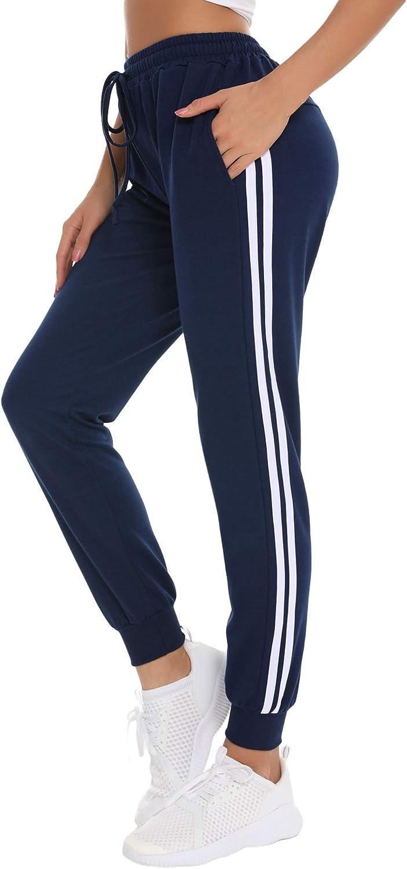NewPI Damen Jogginghose Sporthose Baumwolle Streifen Sweatpants Freizeithose Jogginghose Traininghose Yogahose Fitness High Waist.