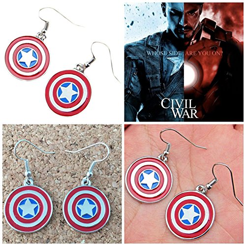 Marvel Comics Avengers Captain America Shield Logo Dangle Earrings (Size: 1/2