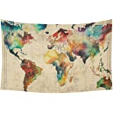 Artsadd Wall Art Home Decor Tapestry Retro Watercolor World Map Cotton Linen Wall Tapestry Wall Hanging 60 x 40