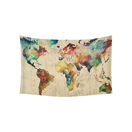 Amazon artsadd wall art home decor tapestry retro watercolor artsadd wall art home decor tapestry retro watercolor world map cotton linen wall tapestry wall hanging gumiabroncs Image collections