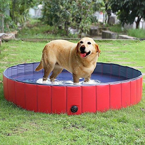 🥇 femor Bañera Plegable de Mascotas Baño Portátil para Animales Piscina para Perros y Gatos Adecuado para Interior Exterior al Aire Libre Color Rojo