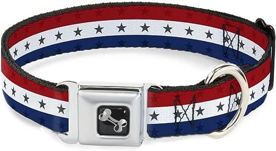 Buckle Down American Eagle Flag Dog Collar Bone
