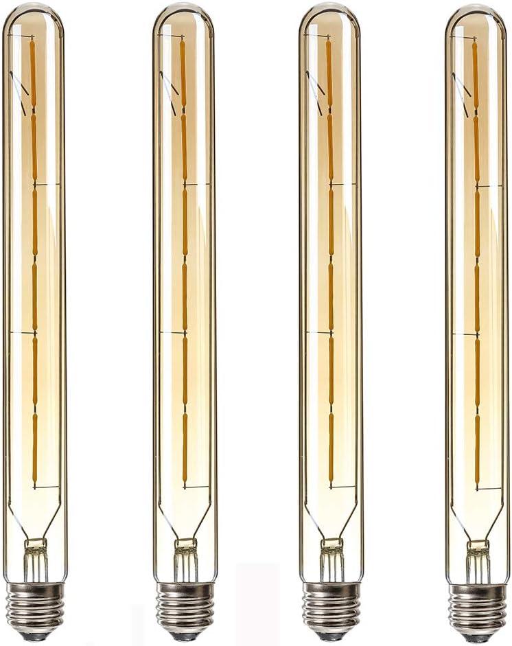 HXMLS T30 Dimmable Vintage Led Tubular Bulb,T300 Long Tube Edison Led Vintage Filament Bulb 6W,60W Incandescent Equivalent,2700K Warm White,Amber Glass Cover E26 Medium Base,11.8inch(4 - Pack).