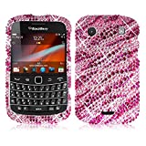 Cellularvilla Dazzling Diamond Bling Jewel Sparkle Glitter Hard Case Cover for Blackberry Bold 9900 9930 (Pink Silver)