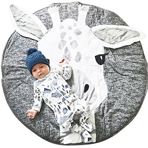 Lzttyee Cotton Round Giraffe Nursery Rug Baby Floor Playmats Crawling Mat Game Blanket for Kids' Room Decoration Dark Gray