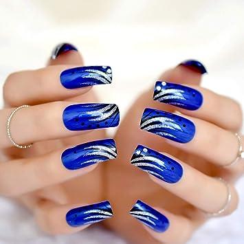 Amazon.com : Shiny Long Acrylic Nail Art Tips Blue Color Square Top ...