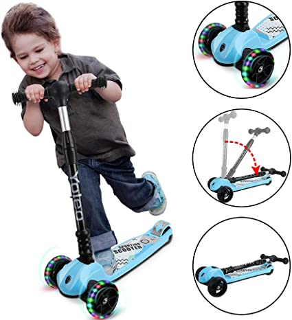 4 Adjustable Height and Flashing PU Wheels Kick Scooter for Kids 3 Wheel Scooter for Toddlers Girls/&Boys with Folding T-Bar Lean to Steer for Children from 2-14 Year-Old