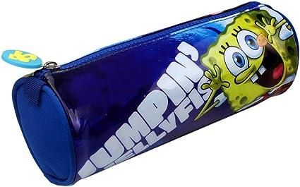 Bob Esponja estuche escolar bolsa barril de bolígrafos neceser de maquillaje de almacenamiento, color 130861_BLUE: Amazon.es: Oficina y papelería