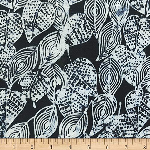 Anthology Batiks Scribbled Leaves Black Fabric By The (Black Batik Fabric)