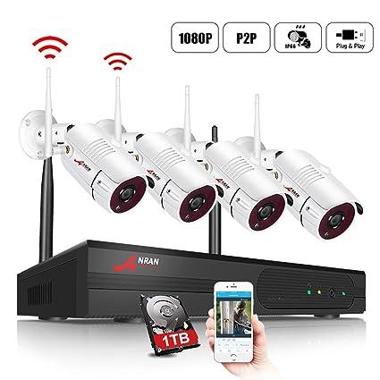 ANRAN Kit de Cámaras Seguridad WiFi Vigilancia Inalámbrica Sistema 4CH 1080P con 4Pcs Cámaras de videovigilancia