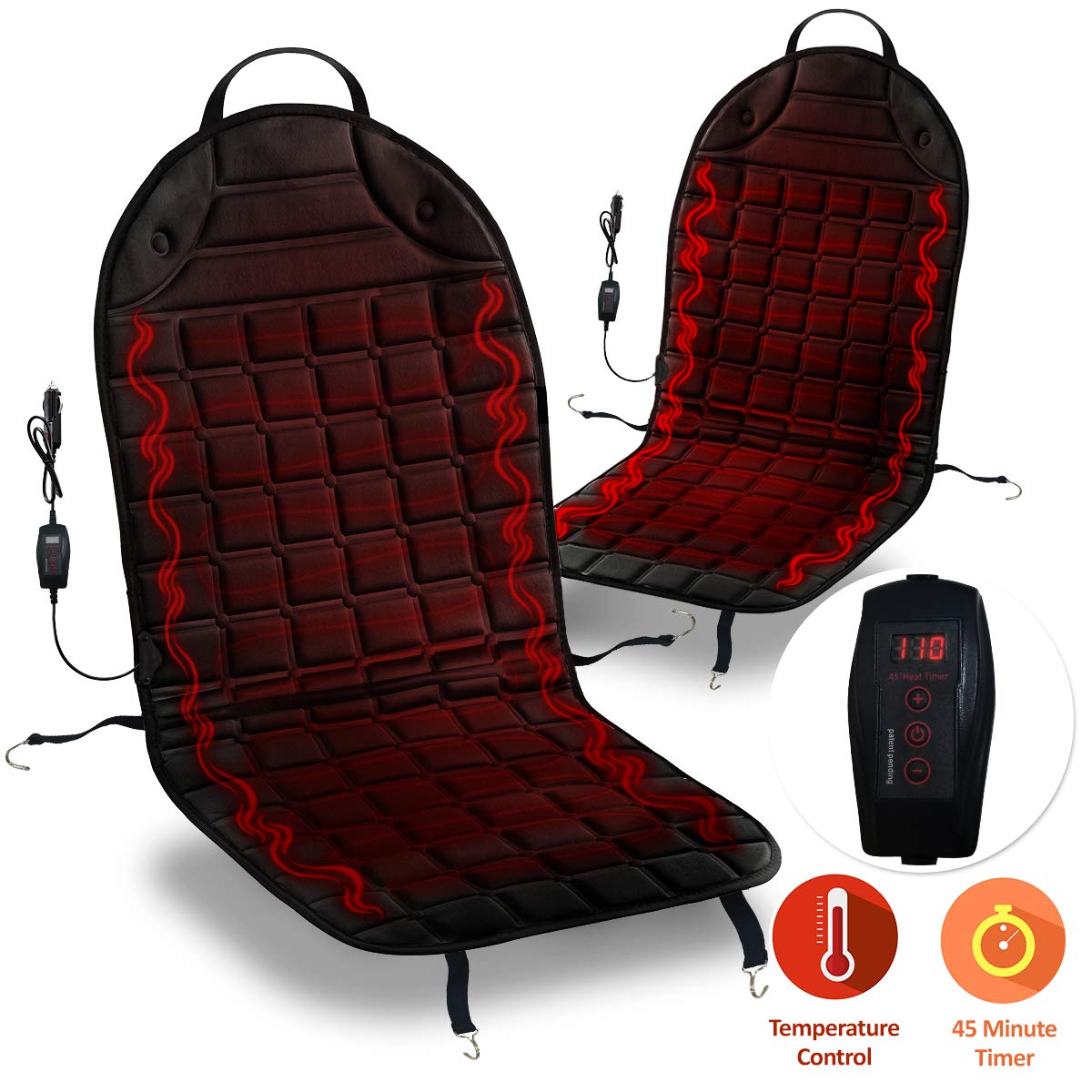 Zone Tech Car Heated Seat Cover Cushion Hot Warmer Premium Quality 2 pack 12V Fireproof Heating Warmer Pad Cover Perfect for Cold Weather and Winter Driving