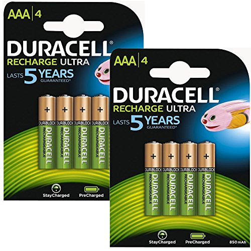 8X Duracell Stay Charged Pre Charged Ready To Use Rechargeable NiMH Battery...