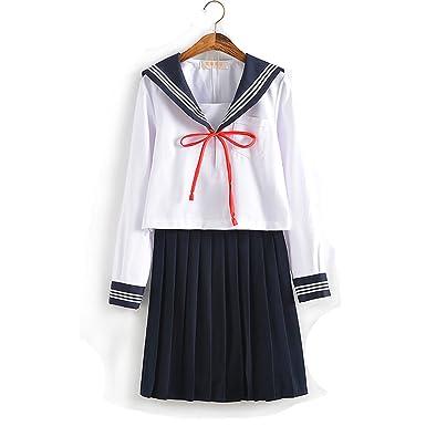 6085895605 Olanstar Women's Japanese High School Uniform Anime Cosplay JK Costume Set  Sailor Suit for Girls Long