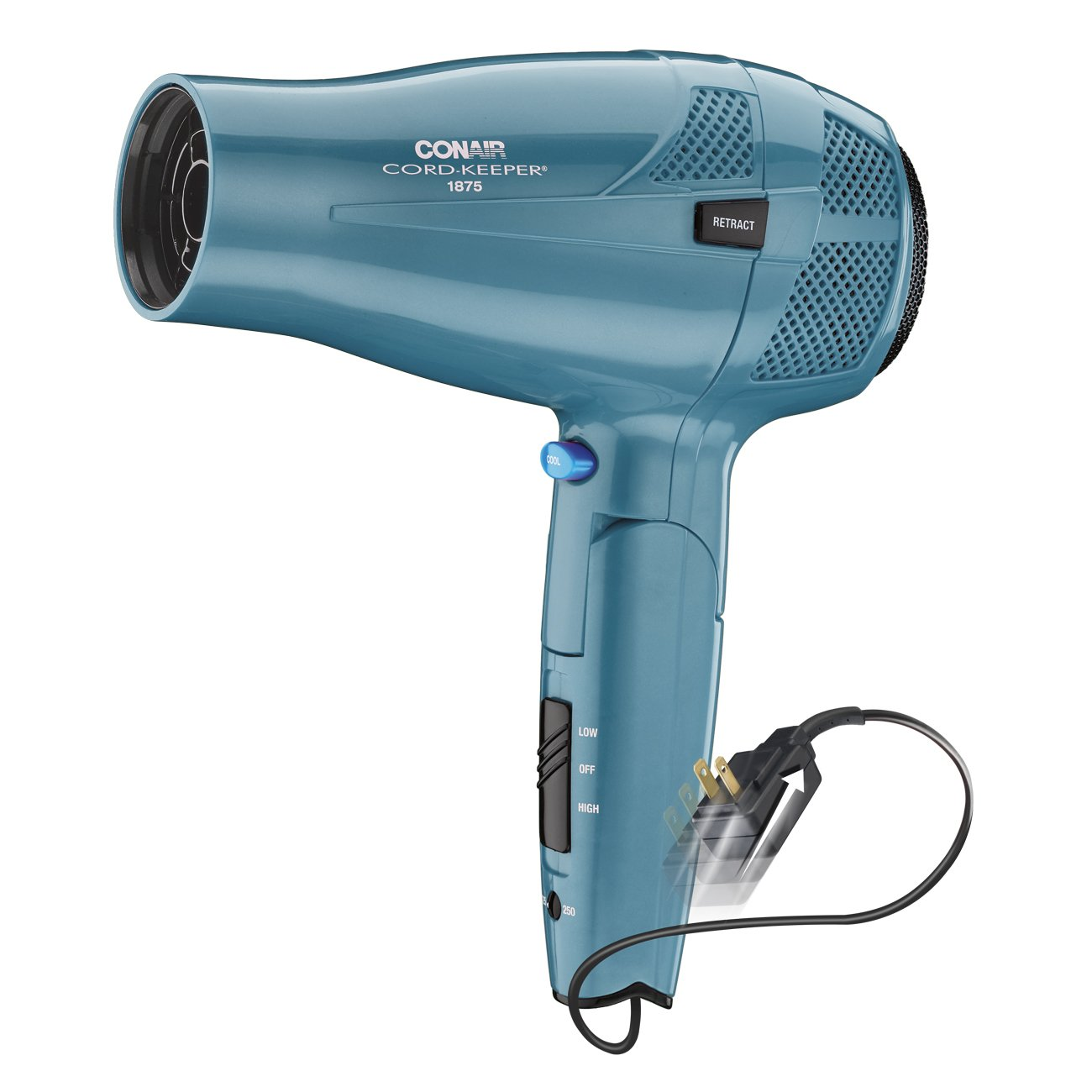 Conair 1875 Watt Cord Keeper Hair Dryer with Folding Handle and Retractable Cord, Travel Hair Dryer, Teal by Conair