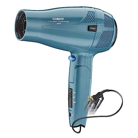 amazon com conair 1875 watt cord keeper hair dryer with folding  amazon com conair 1875 watt cord keeper hair dryer with folding handle and retractable cord, travel hair dryer, teal appliances
